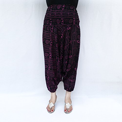 Smocked cintura elástica tobillo OM impresión fina de algodón de la India Harem Pantalón