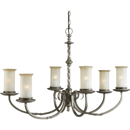 Progress Lighting P4588-103 Six-Light Oval Chandelier with Spiraled Detailing and Pillars Of Jasmine Mist Glass, Antique Pewter - Oval Pewter Pendant