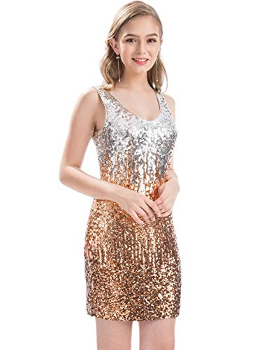 - MANER Women's Sexy V Neck Sequin Glitter Bodycon Stretchy Club Mini Party Dress (L, Silver/Rose Gold/Brown)