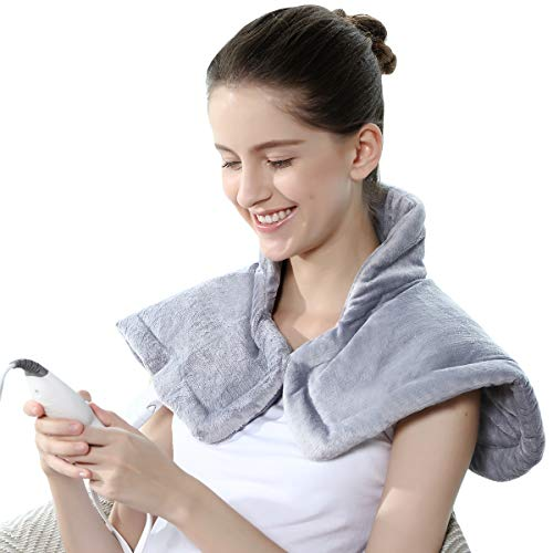 REVIX Electric Heating Pad for Neck and Shoulders Pain Relief with Auto-Off, Soft Micromink Neck Heated Wrap with Moist Therapy, 4 Heat Settings, UL Listed, Silver