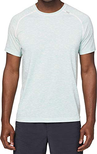 Lululemon Mens Metal Vent Tech Short Sleeve Shirt (White/Blue/Lime, ()