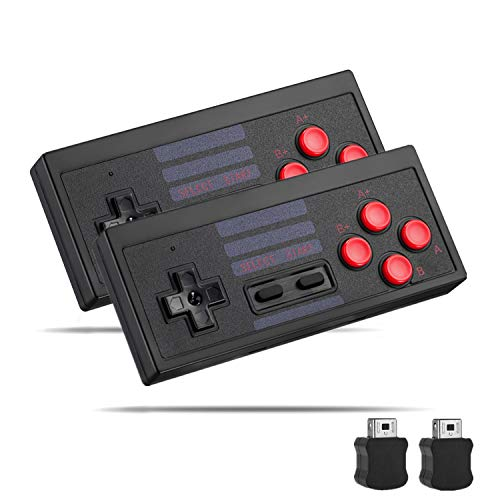NES Classic Controller 2 Pack, Chnaivy 2.4G Wireless Controller Gamepad Joypad for NES Classic Mini Edition (Black)