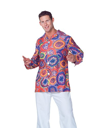 Underwraps Men's 70's Psychedelic Shirt, Multi, (Last Minute Simple Halloween Costumes For Adults)