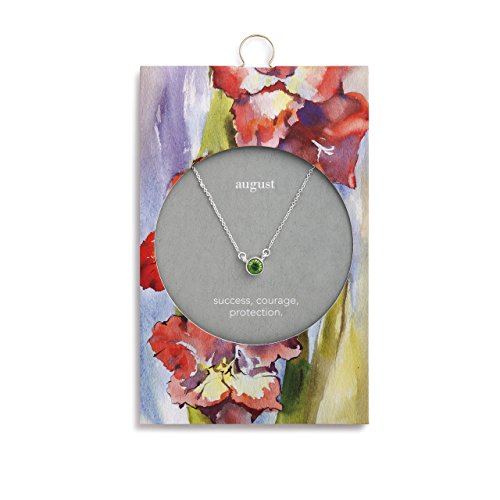 Designer Earrings Crystal Fashion Austrian - DEMDACO August Peridot Silver Round Austrian Crystal Women's Silver-Plated Simply Birthstone Necklace