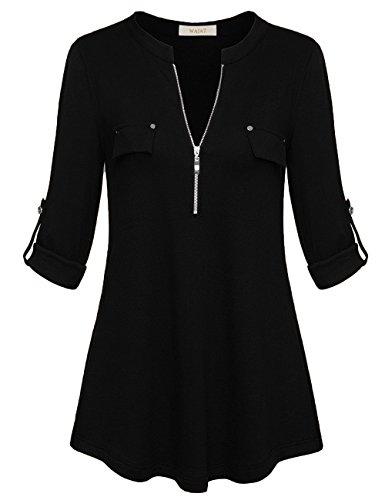 Sleeve V-neck Hardware - WAJAT Oversized Blouse, Stylish Quarter Zip up V Neck Tunic Top Blouses Chic Fake Pocket Sexy Fitted Flowy Business Career Shirts Blouses S Black
