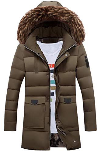 Fur Down Khaki Collar Coat Fur Hooded Sleeve Jacket Gocgt Luxurious Down Mens Long axgTwq6S