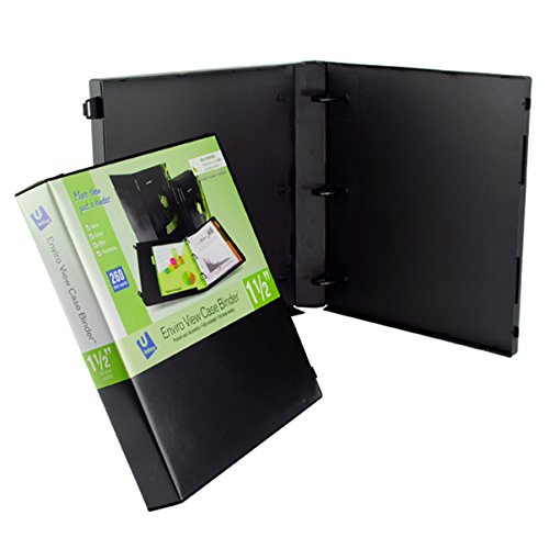 UniKeep 3 Ring Binder - Black - Case View Binder - 1.5 Inch Spine - With Clear Outer Overlay - Box of 15 Binders by UniKeep