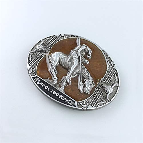 New Yellow Enamel End Of The Trail Native American Western Oval Belt Buckle also US Stock
