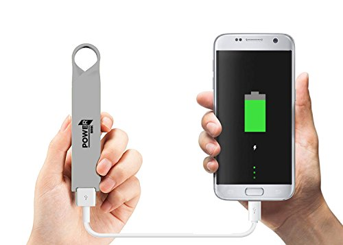 Phone Battery Charger Keychain (Power Brik Portable Power Bank Charger For Samsung, Android, iPhone Cell Phones iPads, iPods & Tablets, Waterproof 2600 mAh Capacity)