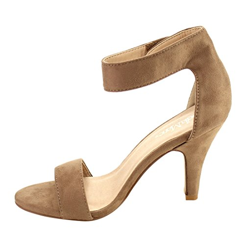BELLA MARIE ID83 Womens Hook And Loop Ankle Strap Wrapped Heel Sandals Taupe Yl9Ik6AF