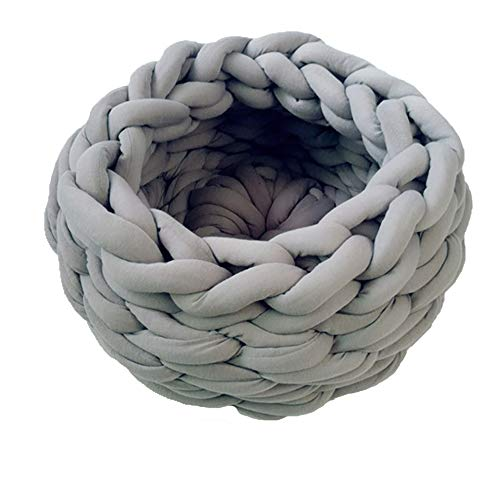 Chunky Crocheted Pet Bed Thick Knitted Cat Bed Cat Cave Cat Nest Pet House Chunky Knit Pet Bed Handmade Pet Bedding Braid Cat Cave (24inch, Light Grey) ()