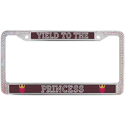 Proven Best Bling License Plate Metal Frame with Screws Caps Color Crystal Rhinestone Aluminum License Plate Frame Tag Yield to The Princess Automotive License Plate Frame