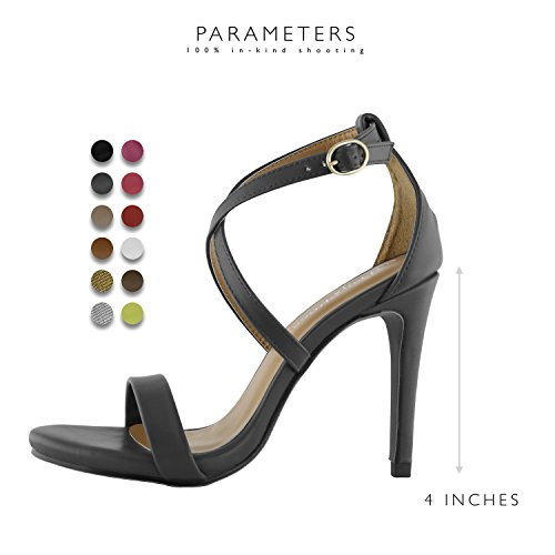 Open Party Leather Women's Dress High Evening Ankle Heel Platform Casual Sandal Toe Buckle Black Strap Shoes Cross DailyShoes Pump Pu nIq1HZpZ