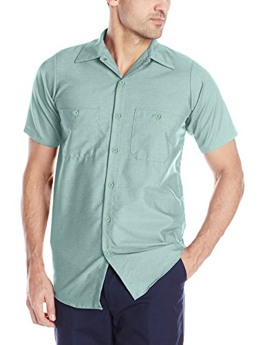 - Red Kap Men's Size Industrial Work Shirt, Regular Fit, Short Sleeve, Light Green, X-Large/Tall