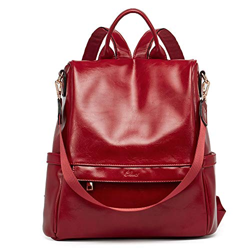 0eb54e33f999 CLUCI Back to School Women Backpack Purse Fashion Oil Wax Leather Large  Travel Bag Ladies Shoulder Bags Red