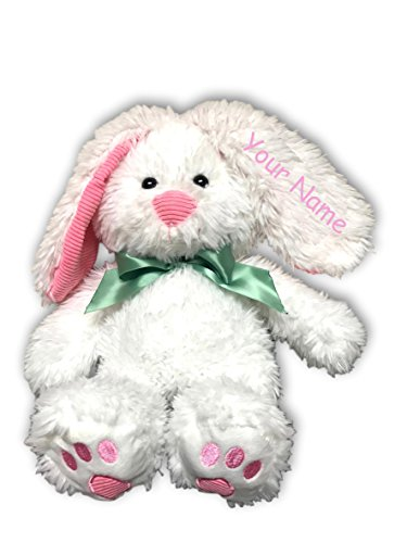 Personalized Easter Bunny (Personalized White Easter Bunny with Green Bow for Boys or Girls Plush Stuffed Animal Toy - 16 Inches)