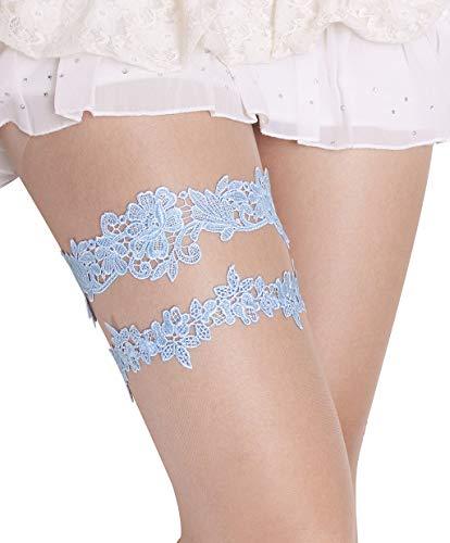 Blue Garters for Bride Garter Set for Bride Wedding Blue Garter Belts Lace Bridal Garter (Blue, M) (Bridal Garter Lace Set)
