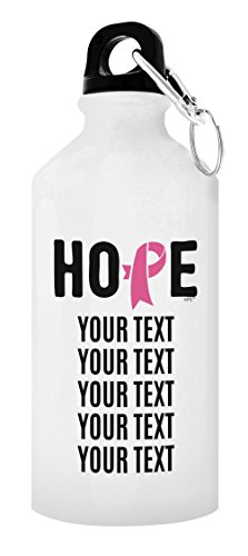 (ThisWear Personalized Breast Cancer Awareness Survivor Hope with Your Custom Text Pink Ribbon Personalized Gift Aluminum Water Bottle with Cap & Sport Top White)