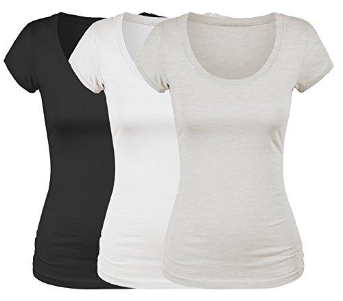 Emmalise Women's Short Sleeve Tshirt Scoop Neck Tee Value Set (3Pk, Blk, Wht, Oat, 3XL)