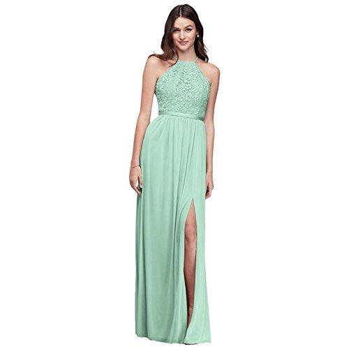David's Bridal Lace Halter Bridesmaid Dress with Long Mesh Skirt Style F19608 Mint]()