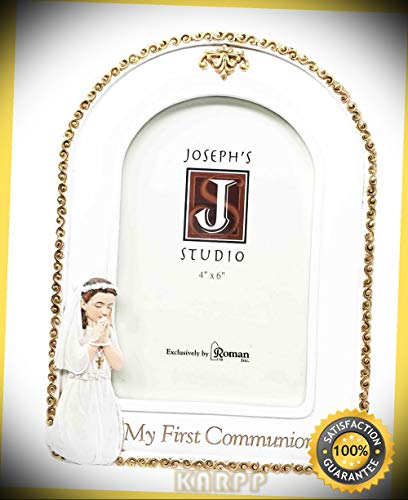 KARPP First Communion Holy Sacrament for Child Girl Picture Frame 4''X6'' Photo Figurine Premium Decor Indoor Collectible ()