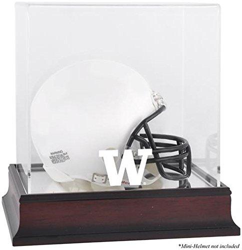 Washington Huskies Authentic Mini Helmet - Sports Memorabilia Washington Huskies Mahogany Logo Mini Helmet Display Case with Mirror Back - Fanatics Authentic Certified