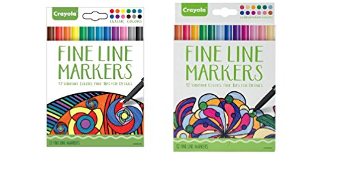 - Crayola Fineline Markers 24 Vibrant Colors with Fine Tips Classic & Contemporary Pack