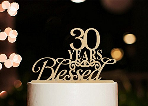 [USA-SALES] 30 Years Blessed Cake Topper, Marriage Anniversary, Anniversary Party Decoration, by USA-SALES Seller