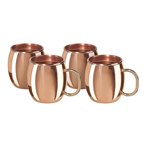 Oggi Moscow Mini Copper Plated Mule Shot Mugs-Set of 4, 2-Ounce