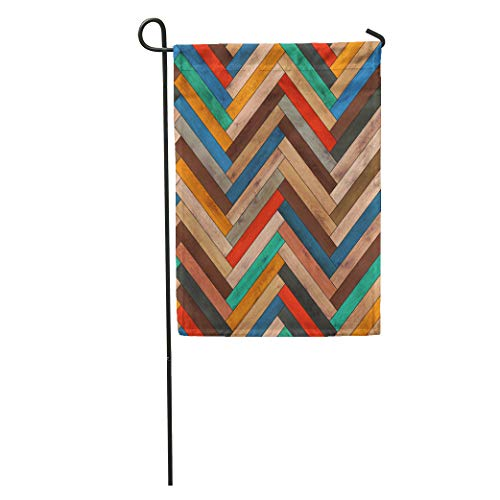 Semtomn Garden Flag Colorful Pattern Wood Parquet Herringbone Clipart Chevron Arrow Floor Flooring Home Yard Decor Barnner Outdoor Stand 12x18 Inches Flag