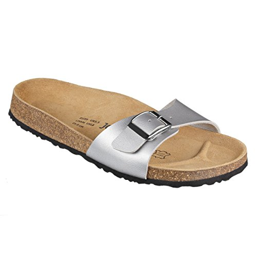 JOE N JOYCE Porto SynSoft Soft-Footbed Sandals Narrow Silver KN33Vm3Lr