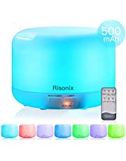 Risonix Difusor de Aceite Esencial, 500ml Difusor de Aromaterapia de Aceite Esencial Humidificador Ultrasónico Grande Aroma para Habitaciones con 7-Color LED, 4 Temporizador