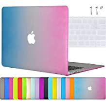 """Easygoby 2in1 Colorful Matte Hard Shell Case Cover for 11-inch MacBook Air 11.6"""" (Models: A1370 / A1465) + Transparent Keyboard Cover - Rainbow"""