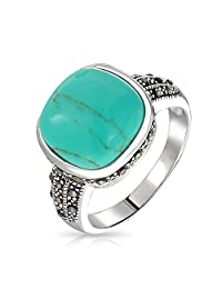 Bling Jewelry Vintage Style Marcasite Reconstituted Turquoise Ring Sterling Silver