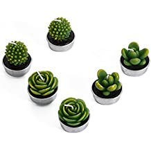 Decorative Scented Smokeless Cactus Tealight Candles, Cute Mini Succulent Plants Candles (Perfect for Home Decor/ Birthday Gift/ Christmas Festival/ Wedding Props/ House-Warming Party), Green, 6 pcs