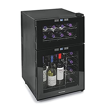 Wine Enthusiast 272 03 24 05 Silent 24 Bottle Dual Zone Touchscreen Wine Cooler, Black