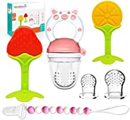 BIGSPINACH Fresh Food Feeder Pacifier, Fruit Shaped Silicone Baby Teether, Sensory Silicone Beads Pacifiers Cl