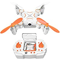 Kingtoys Mini RC Drone 100W HD Camera Collapsible Quadcopter with 2.4GHz 6-Axis Gyro and WiFi FPV (Orange) …