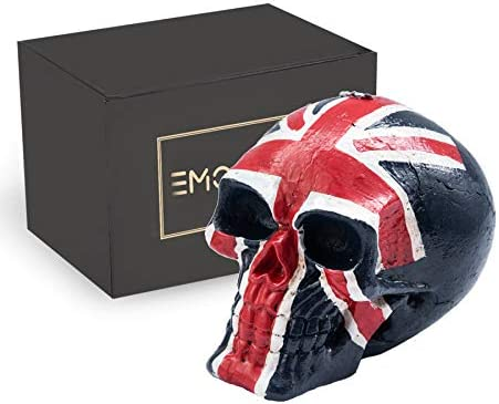 EMOHOME British Flag Skull Statue, Patriot, Decorative Candle for Halloween, Horror, Home Décor, Birthday Party, Festival, Novelty