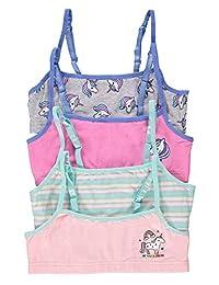 Fun Unicorn Girls Training Bras | Crop Tops 4-Pack Size XL (16)