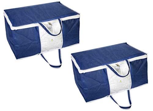 HomeStrap Underbed Storage Bag/Organizer/Blanket Cover with Front Handle (Pack of 2, Blue) (B07F1M87X8) Amazon Price History, Amazon Price Tracker