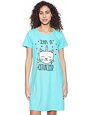 قميص نوم نسائي برقبة دائرية واكمام قصيرة مطبوع برسمة قطة من جي اي تي، مقاس L