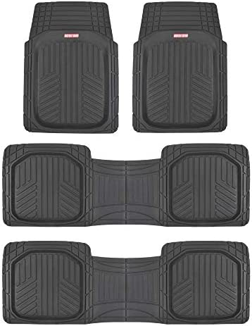 Motor Trend 3 Row Odorless Black Deep Dish Rubber Floor Mats, All-Climate All Weather Performance Plus Heavy Duty Liners