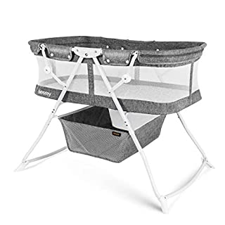 besrey Bassinet for Baby 2 in 1 Portable Travel Baby Bed with Breathable Net/Harmless Mattress/Quick Foldable Design for up 33 lbs/ 5 Months Infant