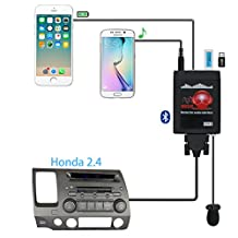 Bluetooth Car Adapter,Yomikoo Car MP3 USB/AUX 3.5mm Stereo Wireless Music Receiver Wireless Hands Free Auto Bluetooth Adapter For Radio fit For Honda 2.4 Accord Civic Odyssey Fit Element Acure MDX RDX
