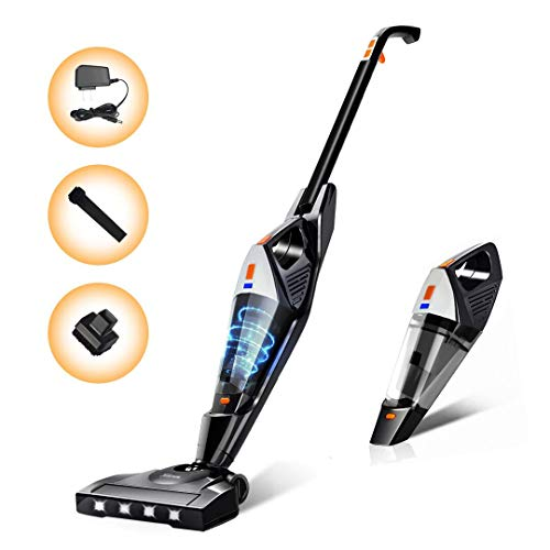 Cordless Vacuum, Hikeren Portable Stick Vacuum Cleaner, Powerful Lightweight 2 in 1 Cordless Stick Vacuum with Rechargeable Lithium Ion Battery for Hard Floor Carpet Pet Hair, White