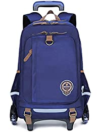 ZLXING Middle School Student Trolley Bag 6 Pulley High Capacity College Style Fashion Children Backpack-Black