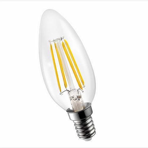 AttaBoy® C35 LED Filament Candelabra Light, 4w to Replace 40w Incandescent Bulb, Ideal for Home, Restaurant and Hotel Decor, Warm White(4 Watts)