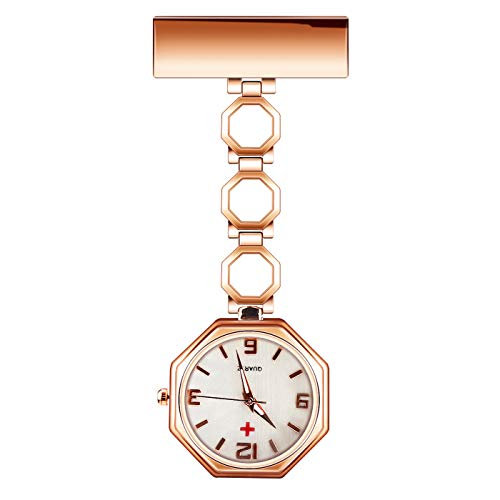 CestMall Nurse Watch Quartz Paramedic Brooch Pin Watch Medical Clip-on Stainless Steel Hanging Pocket Watches Doctor Watches with Gift Box (Rose Gold)