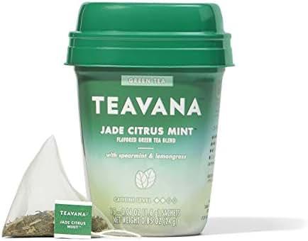 Teavana Jade Citrus Mint, Green Tea With Spearmint and Lemongrass, 60 Count (4 packs of 15 sachets)